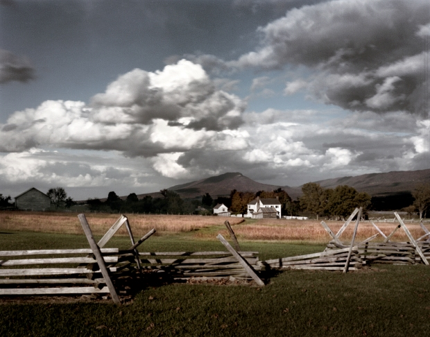 Mount Jackson is the backdrop for the Bushong Farm on the Battlefield at New Market, Va 2014