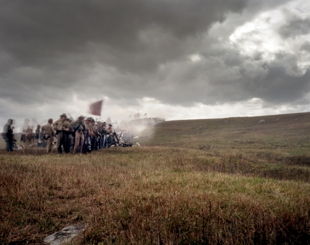 Confederate battle flags undulate with a snaking battle line at Cedar Creek, Va 2014