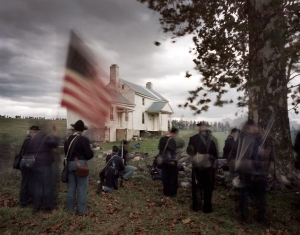 Reenactors commemorate the Battle of Cedar Creek with fighting around the Heater House a structure present during the famous battle in 1864