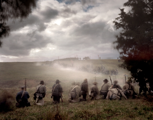 Union reenactors line the ridges at Cedar Creek