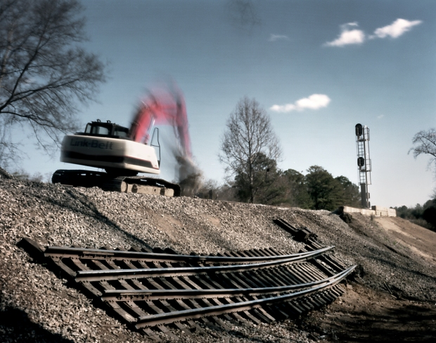 Railroad repairs outside of Griswoldville, Georgia.  150 years ago Sherman's troops would be destroying track all through the State.