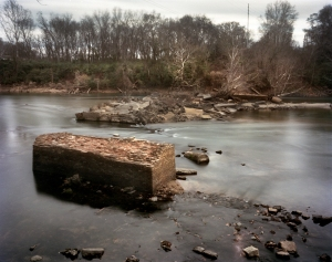 Old bridge over the Oconee River at Milledgeville destroyed by Sherman's troops