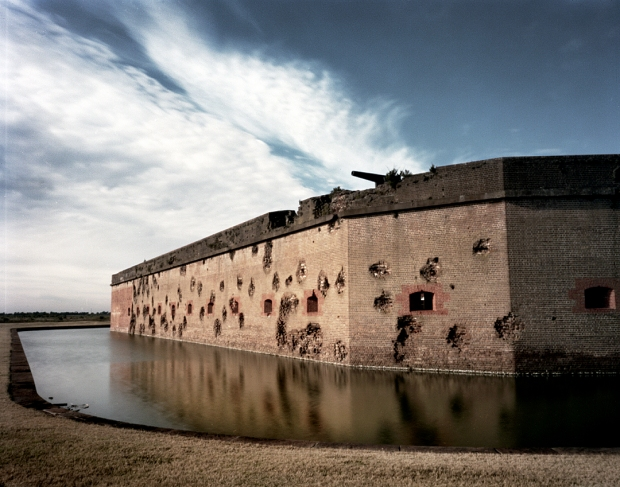 The pock-marked exterior of Fort Pulaski. Situated on the Savannah River the fort was bombarded and captured by Union troops in 1862