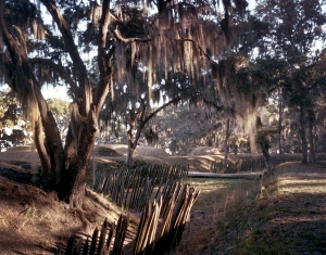 The landside approach to Fort McAllister with moat and sharpened stakes was made more lethal by the placement of land mines by the Confederates