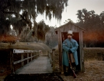 Confederate sentry stands at the footbridge to Fort McAllister