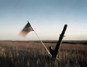 American flag over the marsh on Tybee Island, Ga