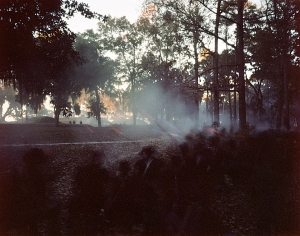 Union reenactors storm Fort McAllister at dusk