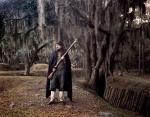 Confederate reenact stands guard at Fort McAllister, Richmond HIll, Georgia 2014
