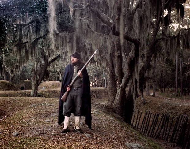 Confederate reenact stands guard at Fort McAllister, Richmond HIll, Georgia 2014