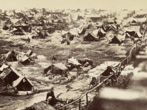 Shebangs and soldiers huts along the deadline at Andersonville