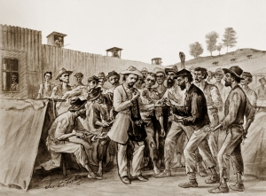 Union prisoners barter buttons for beans at Andersonville - 1864