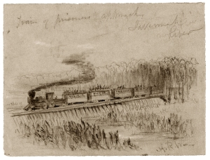 Sketch of a POW train steaming toward Savannah 1864