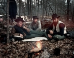 Union reenactors rest after a march in Bentonville, NC