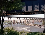 Trestles over the James River at Richmond, Virginia. The Breakthrough at Petersburg would necessitate the evacuation of the the Confederate Capitol
