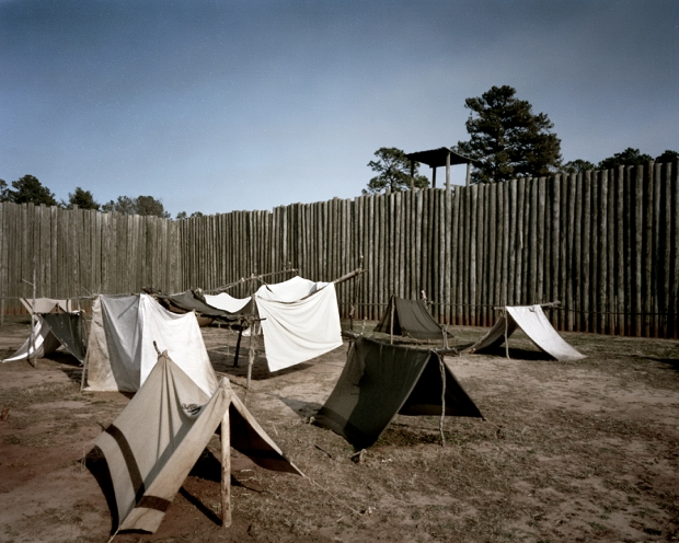 "Reconstructed ""shebangs"" and stockade with guard tower at Andersonville - 2014"