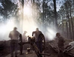 Artillery teams works their guns in Mosley, Va 2014
