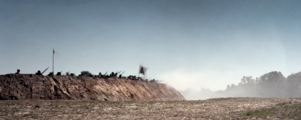 Confederate reenactors defend an earthen fort in Henrico County, Virginia 2014