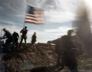 Union reenactors capture Confederate earthworks  in Henrico County, Virginia - 2014