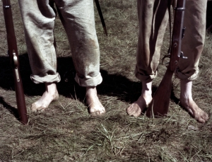 Confederate reenactors go barefoot mirroring the destitution of the Rebel Army in 1865
