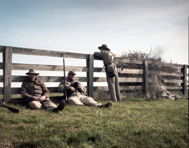 Confederate reenactors at rest at Appomattox Court House, Va 2015