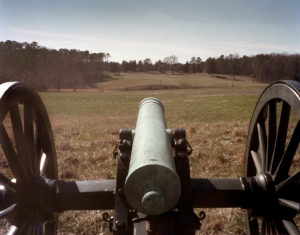 Union gun points toward the Confederate lines at Petersburg National Battlefield 2015