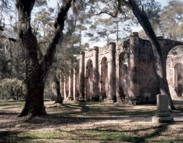 The Shelton Church ruins in Yemassee, South Carolina was burned by British troops in 1779 and rebuilt only to be burned by Sherman's troops in 1865.