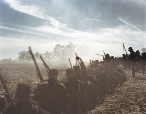Union reenactors defend against a Confederate attack at Bentonville, NC