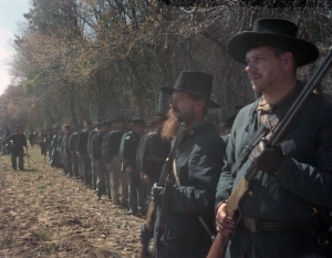 Union reenactors take the impression of Sherman's western army at Bentonville, North Carolina 2015
