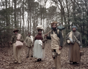 "Reenactors as ""Contraband"" take the impression of liberated slaves that joined Sherman's march through the Carolinas in Bentonville, NC 2015"