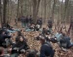 Union reenactors rest on the Battlefield at Bentonville, NC