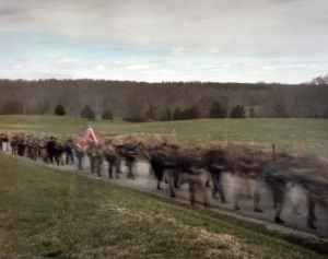 Confederate reenactors march in their last campaign at Sailor's Creek
