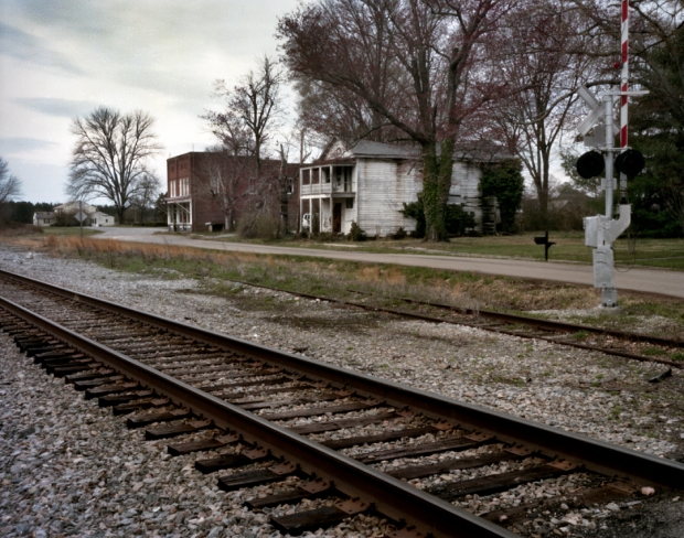 Tracks to the old Danville Railroad run parallel to the modern track today at Jetersville, Va 2015