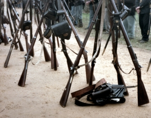 Stacked rifles at Appomattox
