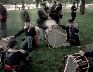 Drummer boys rest before the Grand Review